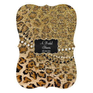 Bridal Shower Natural Gold Leopard Animal Print Personalized Invitations