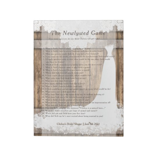 bridal shower newlywed game rustic wood lace notepad