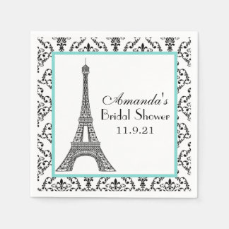 Bridal Shower Night in Paris Damask Custom Napkin