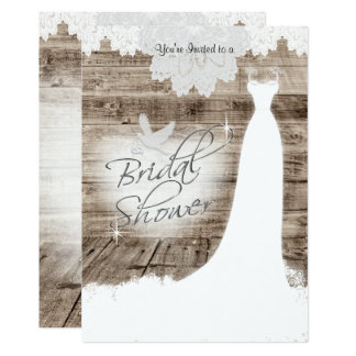 Bridal Shower on Barn Wood with Lace & White Dove Card