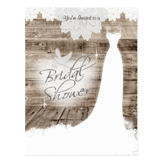 Bridal Shower on Barn Wood with Lace & White Dove Postcard