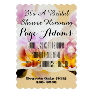Bridal Shower Orchid Blossoms Wedding Card