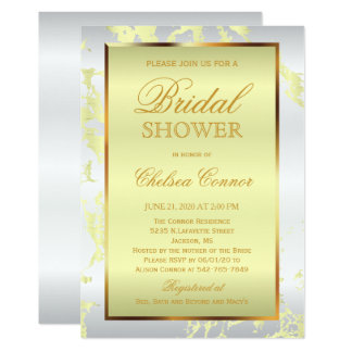 Bridal Shower - Pale Yellow Marble, White & Gold Card