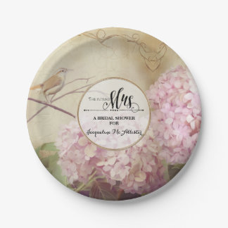 Bridal Shower Paper Party Decor Pink Hydrangea Art Paper Plate