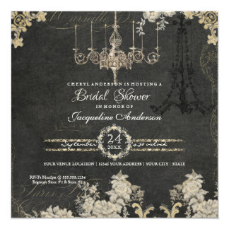 Bridal Shower Paris Chandelier Vintage Typography Card