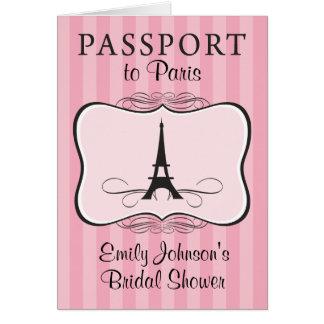 Bridal Shower Paris Passport Invitation Card