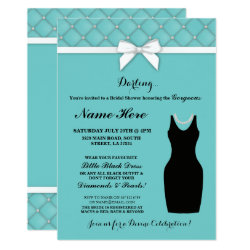 Bridal Shower Party Blue Black Dress Pearls Invite