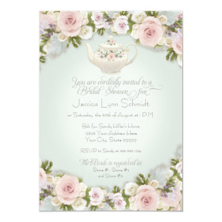 Bridal Shower Party Blush Rose Succulent Leaf Mint Card