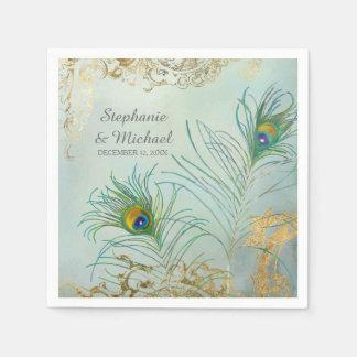 Bridal Shower Party Decor Elegant Peacock Feathers Napkin