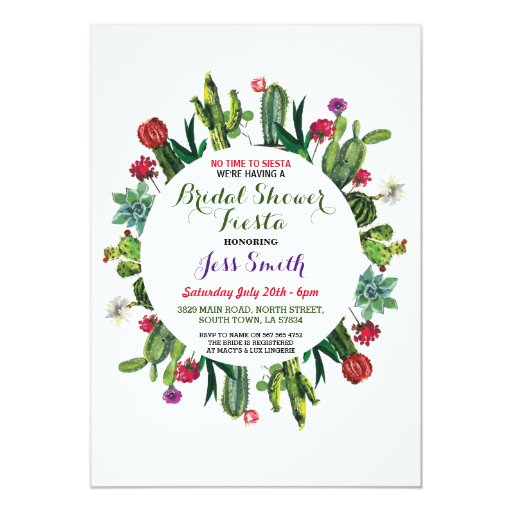 Bridal Shower Party Fiesta Cactus Mexican Invite