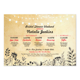 Bridal Shower Party Floral Itinerary Bachelorette Card
