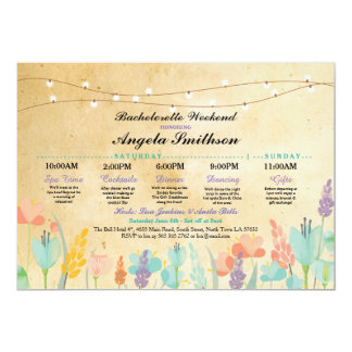 Bridal Shower Party Floral Itinerary Vintage Card