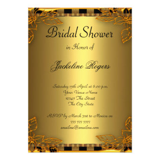 Bridal Shower Party Gold and Gold Frame Custom Invitation