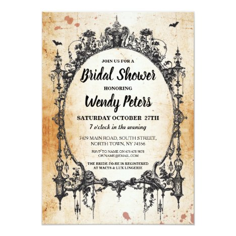 Bridal Shower Party Gothic Frame Halloween Invite