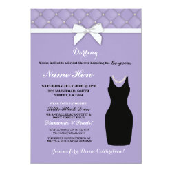 Bridal Shower Party Lilac Black Dress Pearl Invite