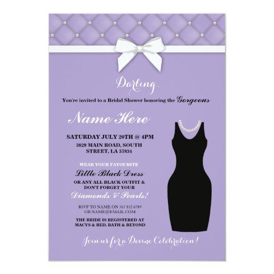 Bridal Shower Party Lilac Black Dress Pearl Invite Zazzle