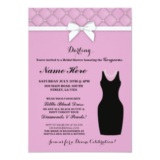 Bridal Shower Party Pink Black Dress Pearls Invite