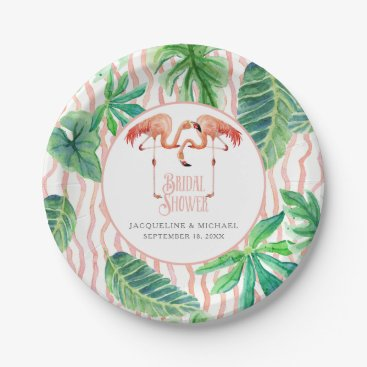 Beach Themed Bridal Shower Party Pink Flamingo Watercolor Leaf Paper Plate