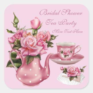 Bridal Shower Party Pink Rose Floral Teapot 5 Square Sticker