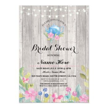 Browse products at zazzle with the theme floral bridal shower bridal shower party rustic teapot floral invite filmwisefo