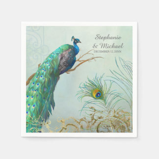 Bridal Shower Party Vintage Peacock Tree Branch Napkin