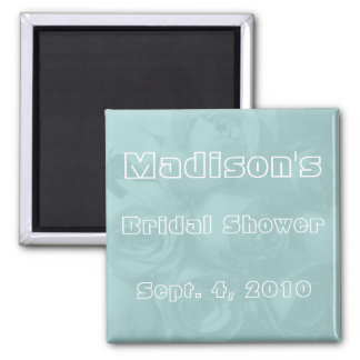 Bridal Shower -  Pastel Blue Roses w/ Name & Date 2 Inch Square Magnet