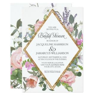 Bridal Shower Peony Lavender Gold Floral Elegant Card