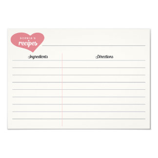"""Bridal Shower Personalized Heart Recipe Cards 3.5"""" X 5"""" Invitation Card"""