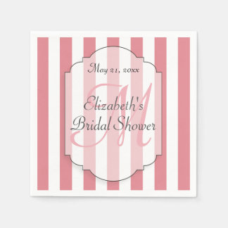 Bridal Shower Personalized Monogram Pink Paper Napkin
