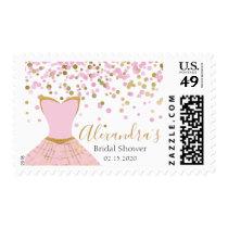 Bridal Shower Pink and Gold Foil Dress Postage