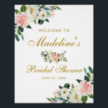 "Bridal Shower Pink Blush Gold Floral Welcome Poster<br><div class=""desc"">Watercolor Pink Blush Floral Gold Bridal Shower Welcome Poster</div>"