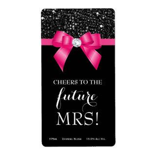 Bridal Shower Pink Bow Black Sequins Wine Labels