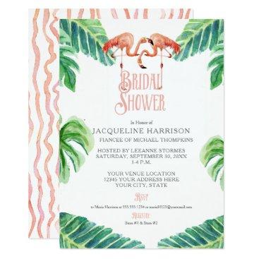 Beach Themed Bridal Shower Pink Flamingo Leaf Stripe Watercolor Card