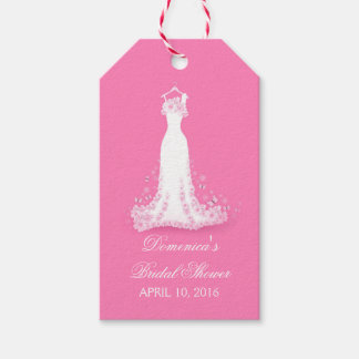 Bridal Shower Pink - Fuschia Wedding Gown Gift Tags