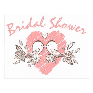 Bridal Shower Pink Heart Lovebirds Invitation Postcard