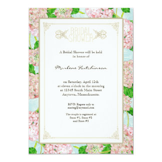 """Bridal Shower Pink Hydrangea Lace Floral Formal 5"""" X 7"""" Invitation Card"""