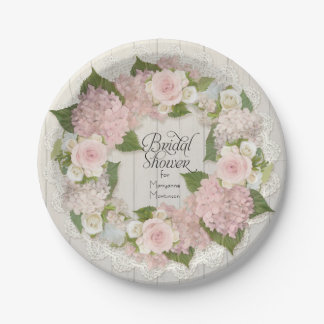 Bridal Shower Pink Hydrangea Roses Lace Wood Fence Paper Plate