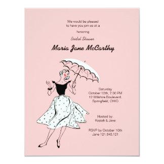 "Bridal Shower Pink Invitation 4.25"" X 5.5"" Invitation Card"