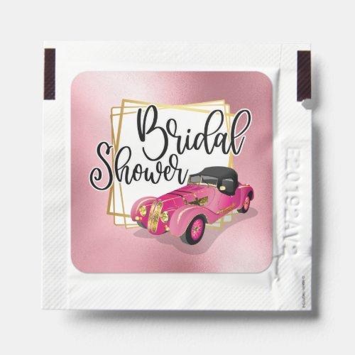 Bridal shower pink limousine gold glam foil look hand sanitizer packet