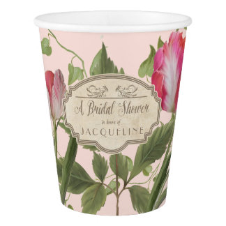 Bridal Shower Pink Parrot Tulips Spring Floral Art Paper Cup