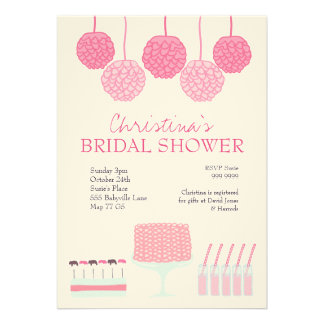 Bridal Shower Pink Party Ruffle Cake Invite