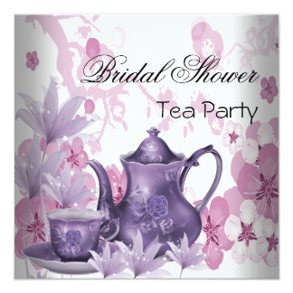 Bridal Shower Pink Purple Tea Party Card