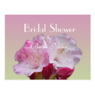 Bridal shower, pink rhododendron flowers post cards