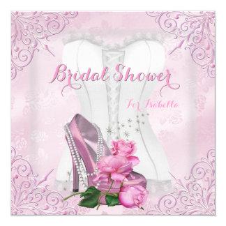 """Bridal Shower Pink Rose Hi Heel Lace Damask 5.25"""" Square Invitation Card"""