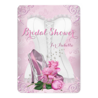 Bridal Shower Pink Rose High Heel Floral Damask Card