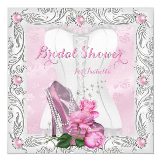 Bridal Shower Pink Rose High Heels Lace Glam Card