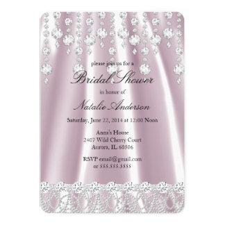 Bridal Shower Pink Silk Diamond Crystal Card