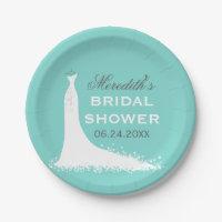 Bridal Shower Plates | Elegant Wedding Gown