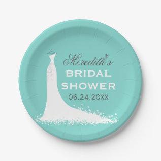 Bridal Shower Plates | Elegant Wedding Gown at Zazzle