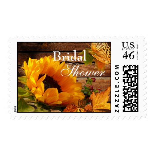 Bridal Shower Postage, Rustic Country Sunflower